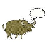 动画片使与想法泡影的长毛的母牛困恼 免版税库存照片