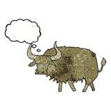 动画片使与想法泡影的长毛的母牛困恼 库存图片