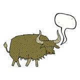 动画片使与讲话泡影的长毛的母牛困恼 免版税库存照片