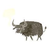 动画片使与讲话泡影的长毛的母牛困恼 库存图片
