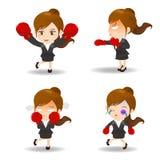 动画片例证女商人拳击 免版税库存照片
