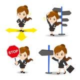 动画片例证女实业家选择方向 免版税库存图片