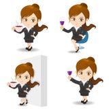 动画片例证女实业家饮料 库存图片
