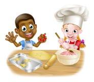 动画片儿童面包师 图库摄影