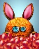动画片兔子和复活节彩蛋 免版税库存图片