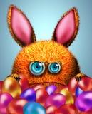 动画片兔子和复活节彩蛋 免版税库存照片