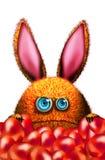 动画片兔子用红色复活节彩蛋 免版税库存图片