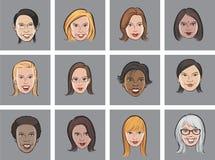 动画片具体化妇女面孔 库存例证