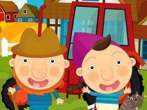 动画片农厂场面-农夫和他的妻子在拖拉机附近 免版税库存照片