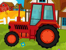 动画片农厂场面-在农场的拖拉机 库存照片