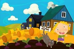 动画片农厂场面-女孩和她的猫 免版税库存图片