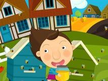 动画片农厂场面-女孩获得乐趣在蜂房附近 库存图片