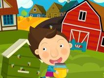 动画片农厂场面-女孩获得乐趣在蜂房附近 免版税库存图片