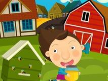 动画片农厂场面-女孩获得乐趣在蜂房附近 图库摄影