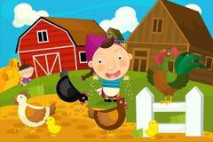 动画片农厂场面-母鸡雄鸡和女主人 库存图片