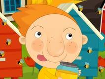 动画片农厂场面-跑在蜂房附近的男孩 库存照片