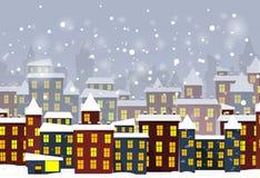 动画片冬天城市 免版税库存图片