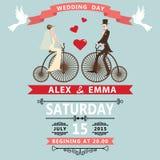 动画片减速火箭的自行车的新娘新郎 背景高雅重点邀请浪漫符号温暖的婚礼 库存例证