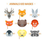 动画片动物为孩子设置的党面具 向量 免版税库存照片