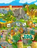 动画片动物园-游乐园-孩子的例证 库存例证