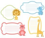动画片动物标号组 免版税库存图片