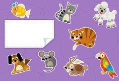 动画片动物-标签-孩子的例证 免版税库存照片