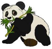 动画片动物-熊猫-平的着色样式 免版税库存图片