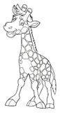 动画片动物-长颈鹿-讽刺画-着色页 免版税库存照片