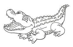 动画片动物-鳄鱼-讽刺画-着色页 免版税库存照片