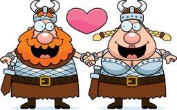 动画片北欧海盗夫妇 免版税库存图片
