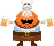 动画片北欧海盗饮用的啤酒 免版税库存照片