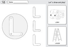 动画片卡车和梯子 字母表追踪的活页练习题:写A 免版税图库摄影