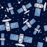 动画片卫星无缝的样式 免版税库存照片
