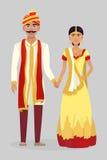 动画片印地安婚礼夫妇 免版税库存图片