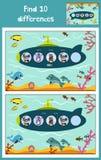 动画片发现10个区别的教育的传染媒介例证对于儿童图片,潜水艇在有美洲黑杜鹃的海洋漂浮 免版税库存图片