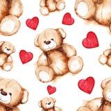 动画片可爱的玩具熊圣徒情人节无缝的样式 免版税库存图片
