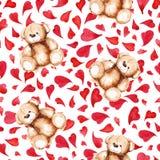 动画片可爱的玩具熊心脏圣徒华伦泰` s天无缝的样式 库存图片
