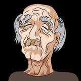 动画片哀伤的沮丧的老人 免版税库存图片