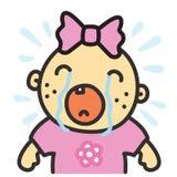 动画片哭泣的女婴被隔绝的传染媒介例证 库存照片