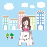 动画片唯一女孩在镇里 免版税库存图片