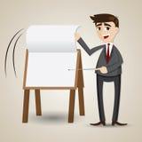 动画片商人在介绍委员会的轻碰纸 库存照片