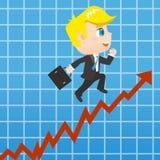 动画片商人promots销售成长 免版税库存图片