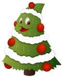 动画片圣诞树字符-传染媒介例证 库存图片