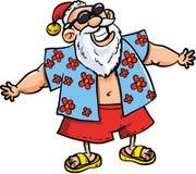 动画片圣诞老人在度假 图库摄影