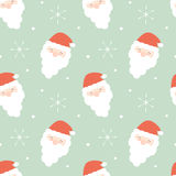 动画片圣诞老人面对无缝的样式背景假日例证 图库摄影