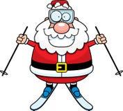 动画片圣诞老人滑雪 图库摄影