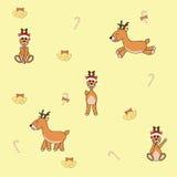动画片圣诞节鹿无缝的样式,传染媒介例证 免版税库存图片