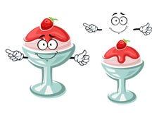 动画片圣代冰淇淋冰淇凌用草莓 免版税图库摄影