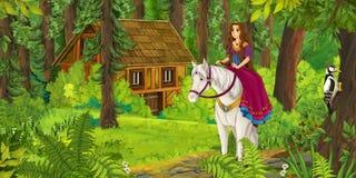 动画片在一个白马的女孩骑马-公主或女王/王后 免版税库存图片