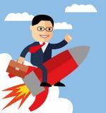 动画片在一枚火箭的商人飞行在蓝天背景,起动 库存图片